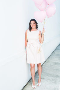 pink balloons, pink dress, blogger