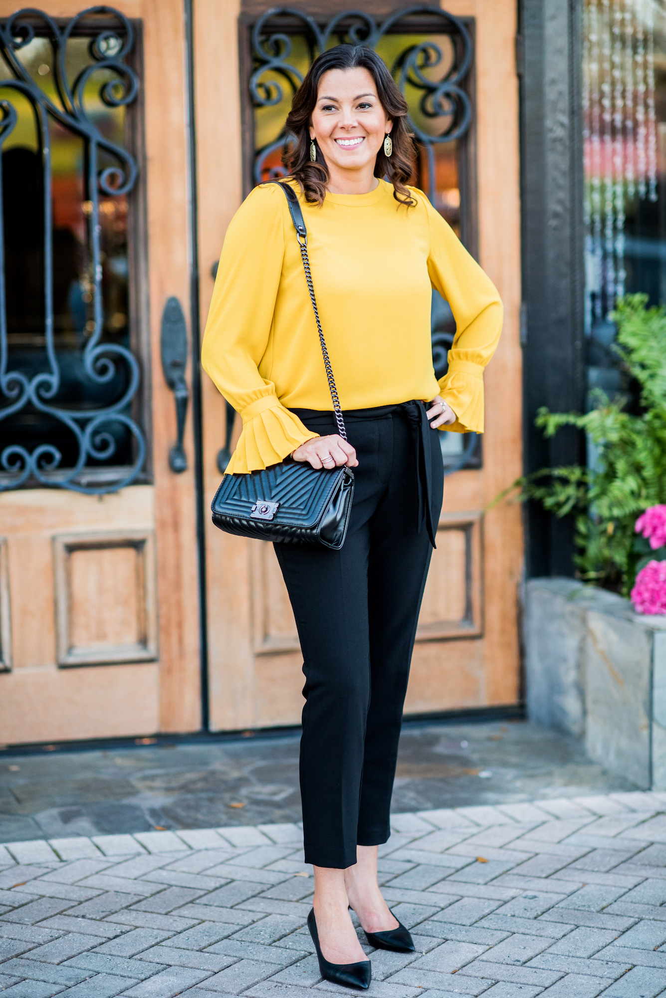 mustard color top, work outfit, business casual Loft, black tie pant