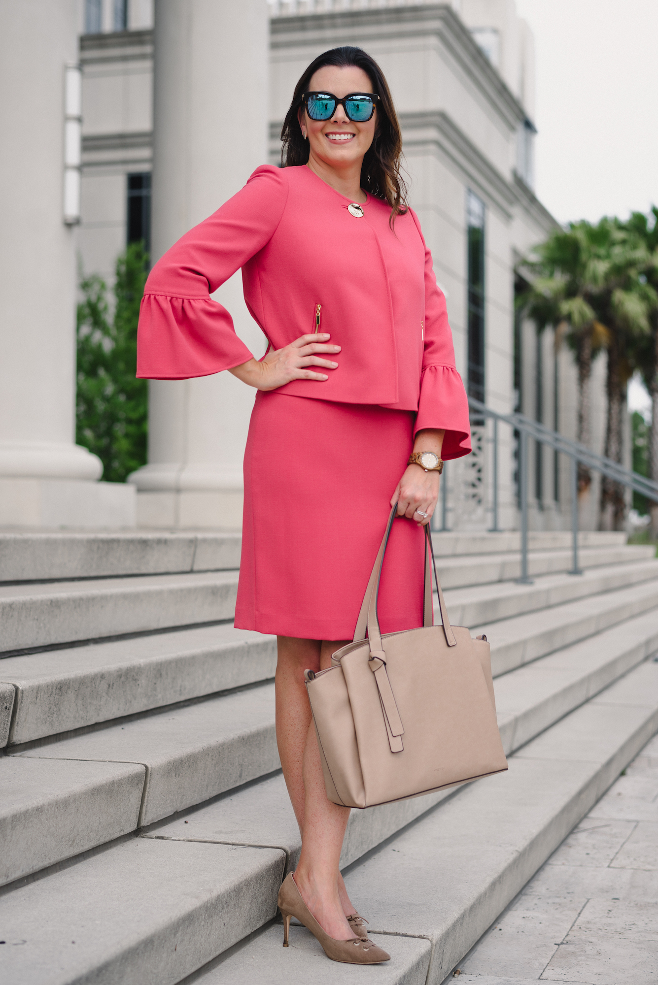 Jord watch giveaway, pink suit, bell sleeve, courthouse, courthouse